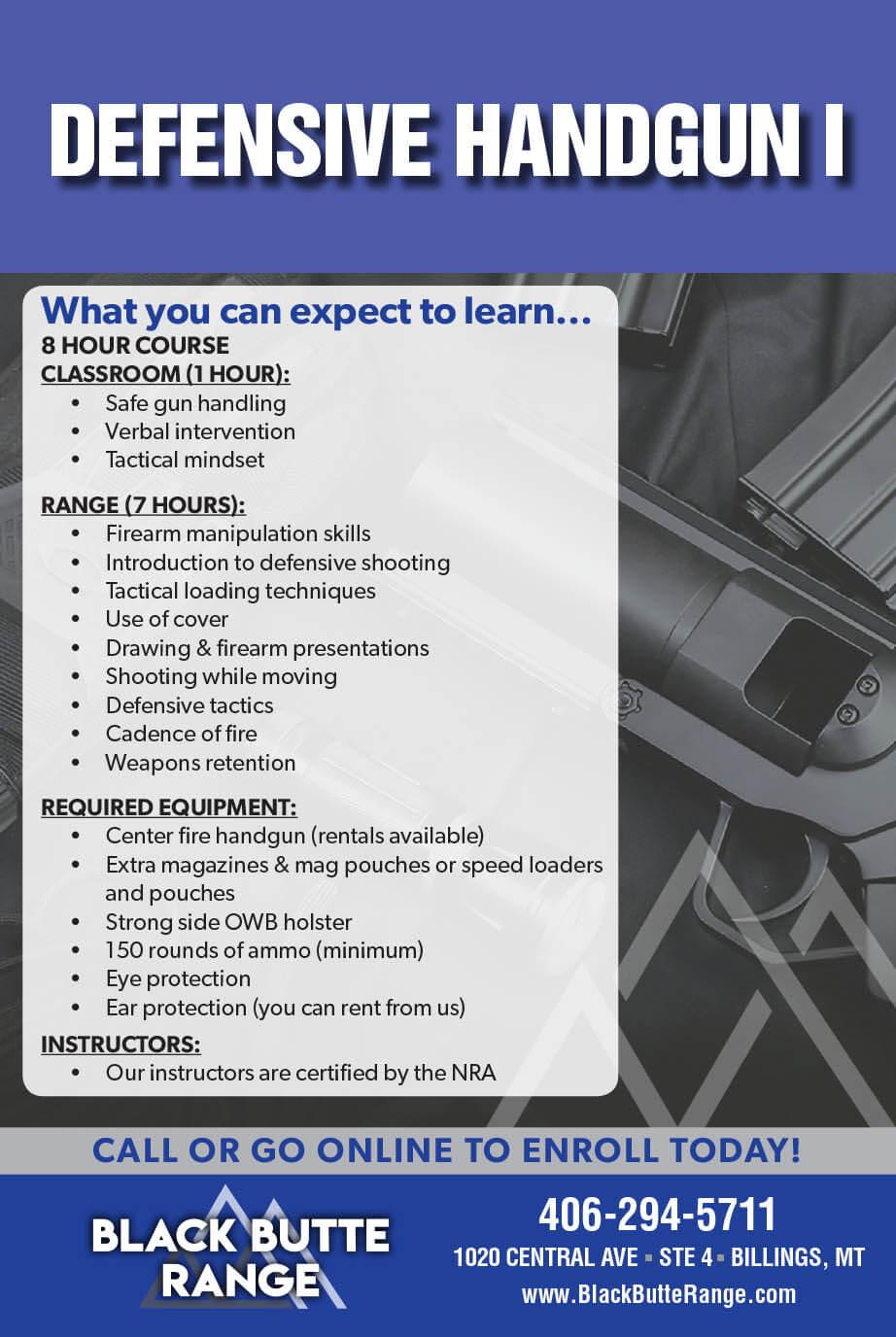 BBR Defensive Handgun - Our Classes