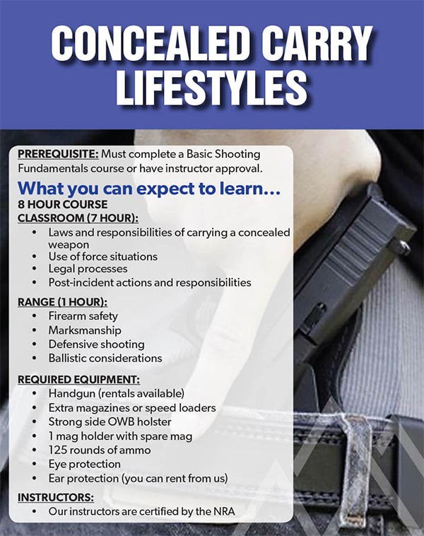 EventBBR Conceal Carry - Concealed Carry Lifestyles (Montana CCW)